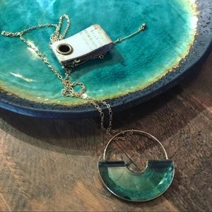 Anthropologie Glass Pendant Long Necklace
